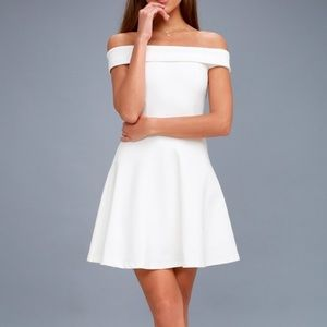 white lulus off the shoulder skater dress